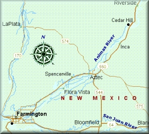 Animas River map in New Mexico