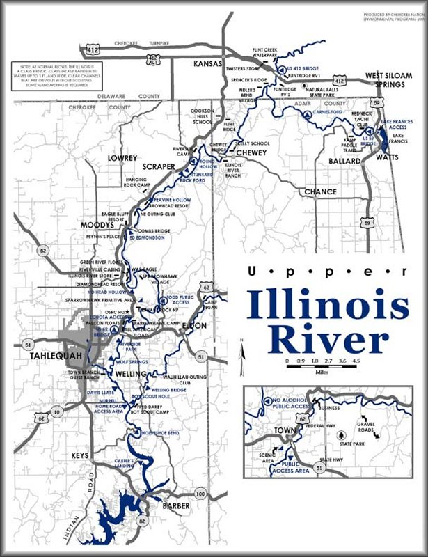 Map of the Illinois River, Oklahoma