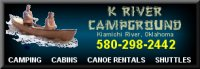 Tent, RV and cabin rental camping on the Kiamichi River