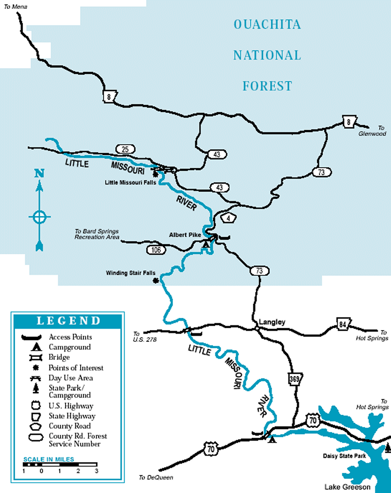 Little Missouri River map courtesy of Arkansas Department of Parks and Tourism