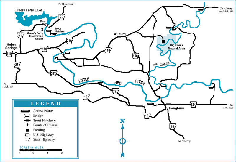 Little Red River map courtesy of Arkansas Department of Parks and Tourism