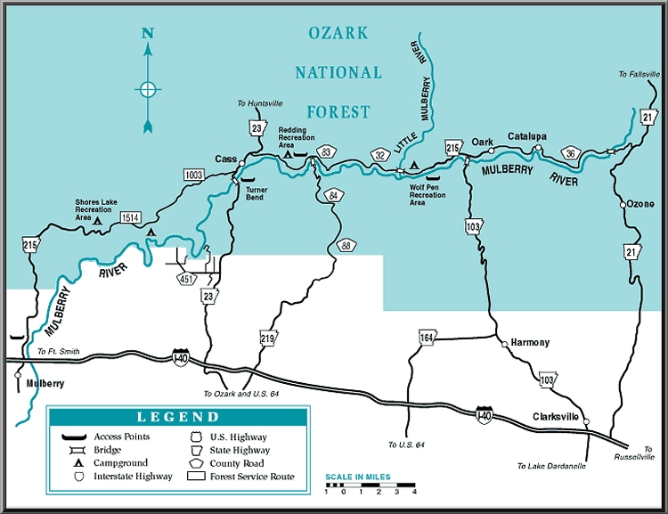 Mulberry River map courtesy of Arkansas Department of Parks and Tourism