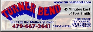Turner Bend - canoes, kayak and raft rentals and shuttle services on the Mulberry River
