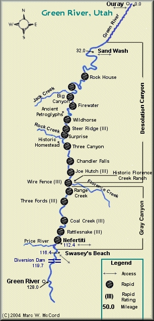 Green River map - Desolation and Gray Canyons