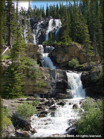 Breathtaking waterfall near the Columbia Icefield