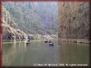 Paddlers marvel at the colors and sights in the canyon