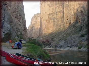 A beautiful Texas side campsite above Tight Squeeze Rapid