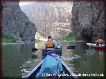 Steve Crowe and Gary Tupa take in the wonders of canyon paddling