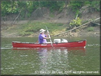 Gail Shipley helping lead BSA Troop 1077 on the Sabine River