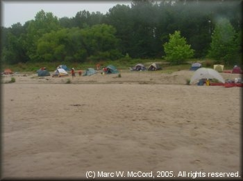 Sandy beach campsite about 17 miles below Toledo Bend Dam