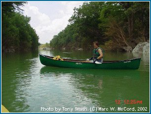 Marc McCord paddling the Blanco at 1,100 cfs in July, 2002