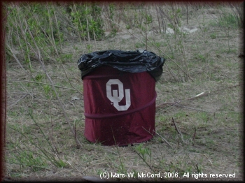 A proper trash receptacle for keeping the river clean