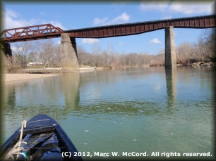 Railroad trestle immediately before Glenwood City Park on river left