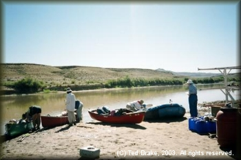 Preparing to paddle Desolation Canyon at the Sand Wash Public Access