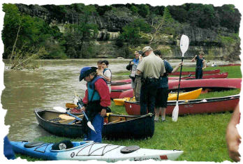 Checking names at Guadalupe River State Park