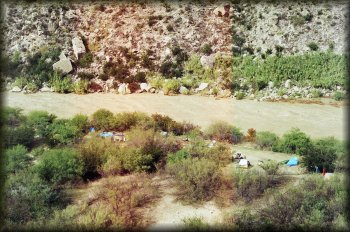 Looking down on our Hot Springs campsite from the mountains to the south