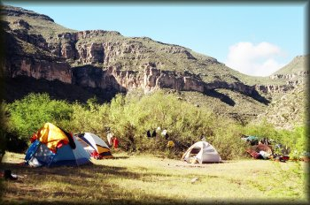Our Hot Springs campsite in Mexico