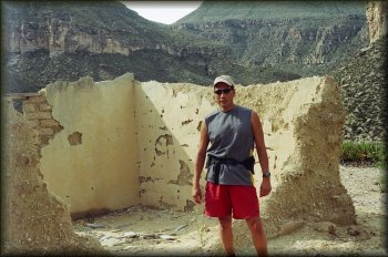 Tony Rico at an adobe ruin in the hills behind our Hot Springs campsite