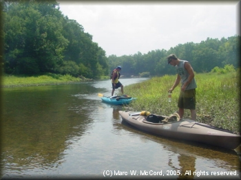Mark Crowe (front) and Paul Boling preparing to fish the Little River