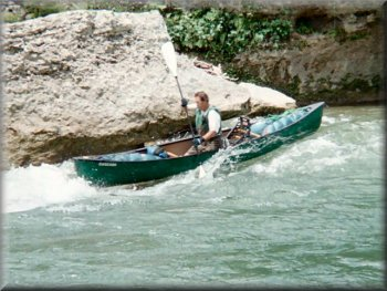 Marc McCord running Dogleg Rapid on the Upper Guadalupe River, Texas