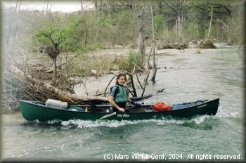 Marc McCord at one of many deadfall strainers on the Medina River