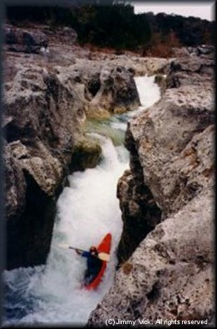 Steve Daniel going over the 3rd drop of the Blanco Narrows