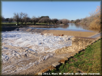The dam at Big Rocks City Park in Glen Rose at 2,600 cfs