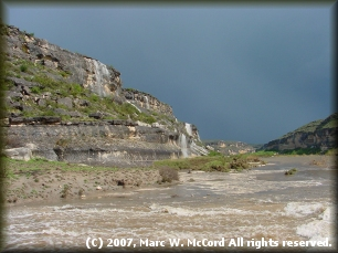 Waterfalls on river right after a huge storm blew over the Pecos River