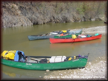 Canoes loaded for an Upper Canyons expedition