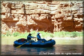 A supply raft on the San Juan River