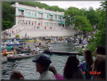 On the water at the starting line on the San Marcos River
