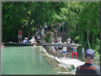 This is how the long boats get through Staples Dam